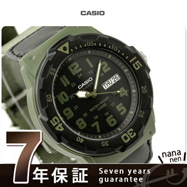 カシオ チプカシ 腕時計 メンズ スタンダード デイデイト 海外モデル ブラック×カーキ クロスベルト CASIO MRW-200HB-3BVCF