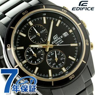 kashioedifisukuronogurafukuotsumenzu手表EFR-526BK-1A9VUDF CASIO EDIFICE全部黑色×黄金