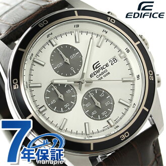 kashioedifisukuronogurafukuotsumenzu手表EFR-526L-7AVUDF CASIO EDIFICE银子×棕色