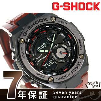 G-shock G steel quartz men's watch-GST-210M-4ADR Casio G shock black x Red