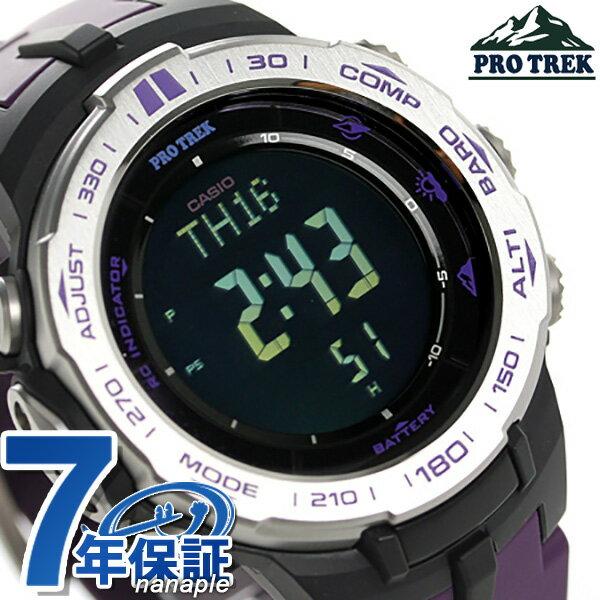 カシオ プロトレック トリプルセンサー 電波ソーラー PRW-3100-6DR CASIO PRO TREK 腕時計 ブラック×パープル 時計【あす楽対応】