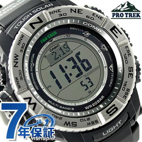 カシオ プロトレック 電波ソーラー 方位計 メンズ PRW-3500-1DR CASIO マルチフィールドライン 腕時計 ブラック