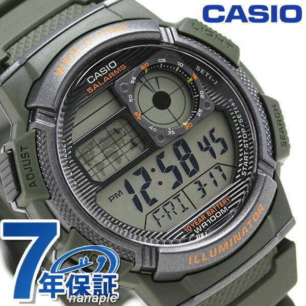 カシオ チプカシ 10気圧防水 海外モデル メンズ 腕時計 AE-1000W-3AVDF CASIO カーキ 時計