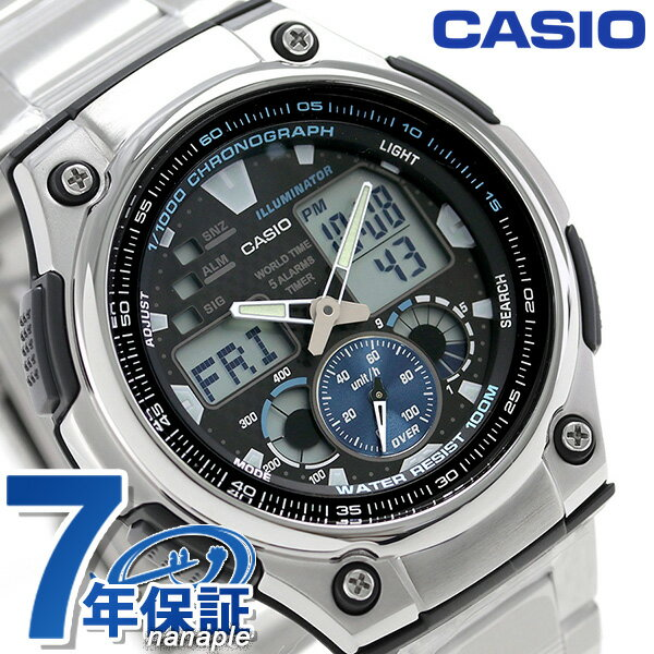 カシオ 腕時計 チープカシオ 10気圧防水 海外モデル メンズ AQ-190WD-1AVDF CASIO ブラック チプカシ