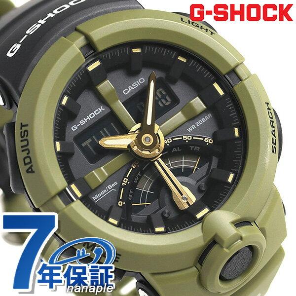 G-SHOCK CASIO GA-500P-3ADR 腕時計 カシオ Gショック パンチングパターン レトログラード カーキ