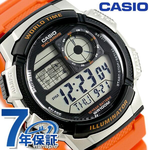 カシオ チープカシオ スタンダード ワールドタイム 腕時計 AE-1000W-4BVDF CASIO オレンジ