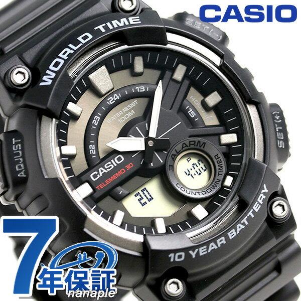 カシオ チープカシオ スタンダード ワールドタイム 腕時計 AEQ-110W-1AVDF CASIO ブラック