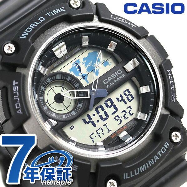 カシオ チープカシオ スタンダード ワールドタイム 腕時計 AEQ-200W-1AVDF CASIO ブラック