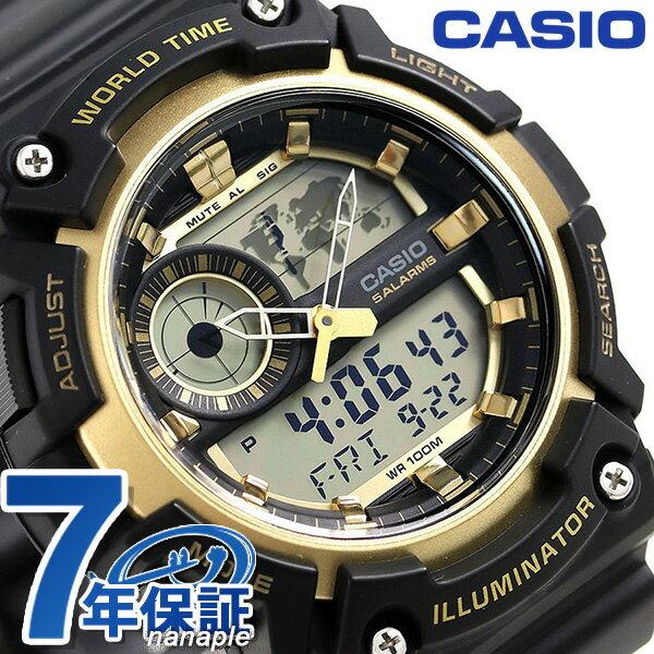 カシオ チープカシオ スタンダード ワールドタイム 腕時計 AEQ-200W-9AVDF CASIO ブラック