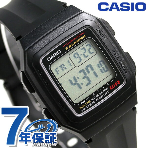 カシオ チープカシオ スタンダード デュアルタイム 腕時計 F-201WA-1ACF CASIO ブラック