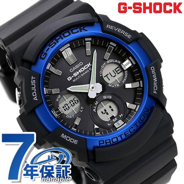 G-SHOCK ベーシック 電波ソーラー メンズ 腕時計 GAW-100B-1A2ER カシオ Gショック ブラック×ブルー 時計【あす楽対応】