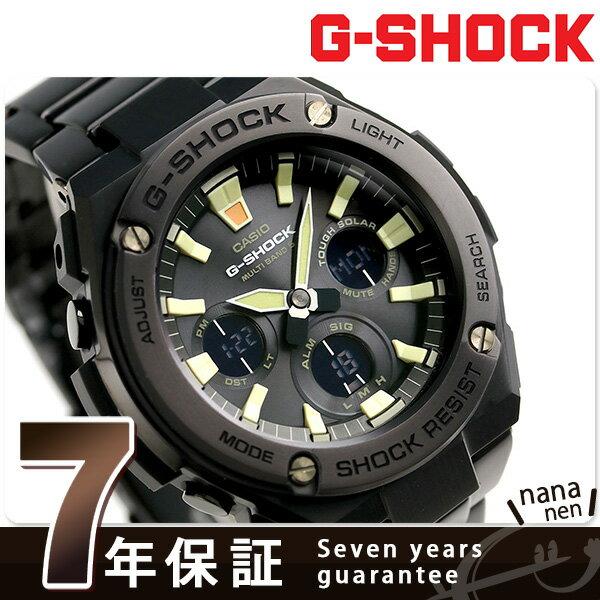【当店なら!さらにポイント+4倍!25日10時〜】G-SHOCK Gスチール 電波 ソーラー オールブラック メンズ GST-W130BD-1AER Gショック 腕時計 時計【あす楽対応】