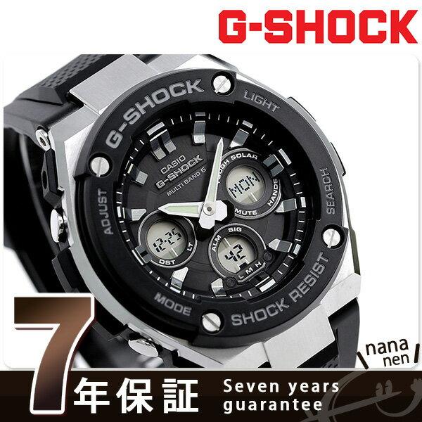【当店なら!さらにポイント+4倍!25日10時〜】G-SHOCK Gスチール ミドルサイズ 電波ソーラー ブラック 腕時計 GST-W300-1AER Gショック【あす楽対応】