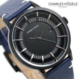 【30日はさらに+4倍でポイント最大27倍】 シャルルホーゲル 時計 M-1シリーズ 41mm デイト メンズ 腕時計 M-1 V0718.B03 Charles Vogele ブラック×ブルー【あす楽対応】