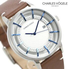 【30日はさらに+4倍でポイント最大27倍】 シャルルホーゲル 時計 M-1シリーズ 41mm デイト メンズ 腕時計 M-1 V0718.S02 Charles Vogele シルバー×ブラウン【あす楽対応】
