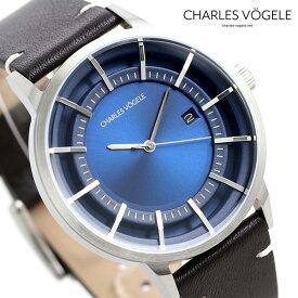 【今なら10%割引クーポン&店内ポイント最大44倍】 シャルルホーゲル 時計 M-1シリーズ 41mm デイト メンズ 腕時計 M-1 V0718.S04 Charles Vogele ブルー×ダークブラウン【あす楽対応】