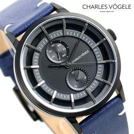 【今なら10%割引クーポン&店内ポイント最大44倍】 シャルルホーゲル 時計 M-4シリーズ 41mm デイデイト メンズ 腕時計 M-4 V0721.B03 Charles Vogele ブラック×ブルー【あす楽対応】