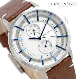 【今なら10%割引クーポン&店内ポイント最大44倍】 シャルルホーゲル 時計 M-4シリーズ 41mm デイデイト メンズ 腕時計 M-4 V0721.S02 Charles Vogele シルバー×ブラウン【あす楽対応】