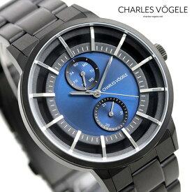 【今なら10%割引クーポン&店内ポイント最大44倍】 シャルルホーゲル 時計 M-5シリーズ 41mm デイデイト メンズ 腕時計 M-5 V0722.B34 Charles Vogele ブルー×ブラック【あす楽対応】