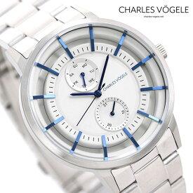 【今なら10%割引クーポン&店内ポイント最大44倍】 シャルルホーゲル 時計 M-5シリーズ 41mm デイデイト メンズ 腕時計 M-5 V0722.S02 Charles Vogele シルバー【あす楽対応】