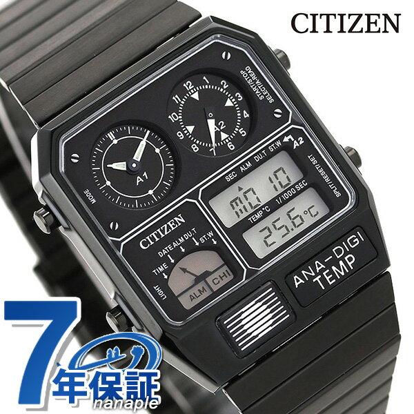 25日当店なら!ポイント最大30倍 シチズン 腕時計 クロノグラフ 温度計 ブラック アナログ デジタル JG2105-93E CITIZEN アナデジテンプ 時計【あす楽対応】