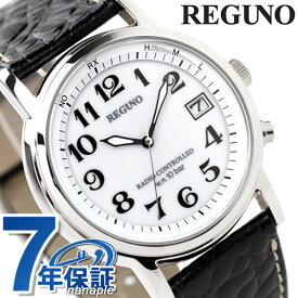 【20日はさらに+4倍でポイント最大19倍】 シチズン レグノ メンズ ソーラー 電波 クラシック ストラップ ホワイト×ブラックカーフ CITIZEN REGUNO KL7-019-10 腕時計 時計