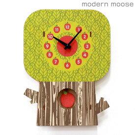 【店内ポイント最大44倍!26日1時59分まで】 クロック モダンムース modern moose りんごの木 かわいい 掛時計 PCPEN028 振り子時計 木製