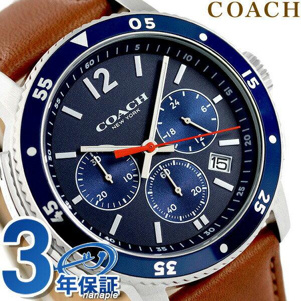 コーチ 時計 メンズ COACH 腕時計 ブリーカー 44mm クロノグラフ 14602027 ネイビー × ブラウン【あす楽対応】