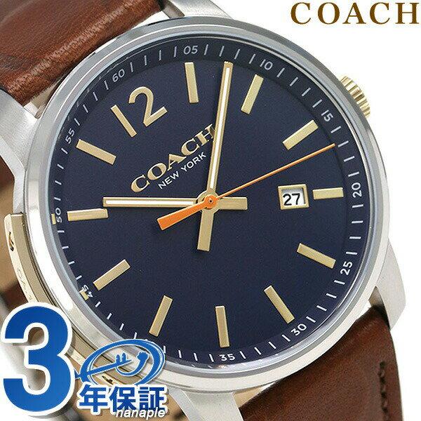 コーチ 時計 メンズ COACH 腕時計 ブリーカー 42mm クオーツ 14602114 ネイビー × ブラウン【あす楽対応】