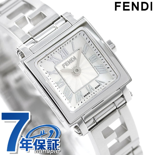 【エントリーでさらにポイント+4倍!26日1時59分まで】 フェンディ クアドロ ミニ 20mm レディース 腕時計 F605024500 FENDI ホワイトシェル 時計