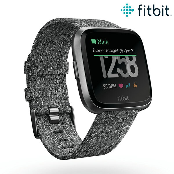 fitbit フィットビット ブラック スマートウォッチ 消費カロリー 歩数計 メンズ レディース 腕時計 FB505BKGY-CJK Versa 革ベルト【あす楽対応】