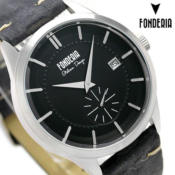 フォンデリア ストリームライナー 41mm クオーツ メンズ 腕時計 6A009UN1 FONDERIA ブラック 時計