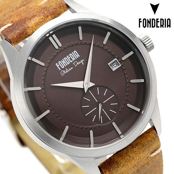 フォンデリア ストリームライナー 41mm クオーツ メンズ 腕時計 6A009UR1 FONDERIA ブラウン 時計