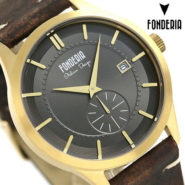 フォンデリア ストリームライナー 41mm 革ベルト メンズ 腕時計 6G009UG1 FONDERIA 時計