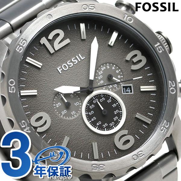 25日当店なら!ポイント最大26倍 FOSSIL フォッシル 腕時計 メンズ ネイト クロノグラフ JR1437 グレー 【あす楽対応】