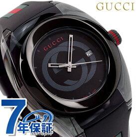 グッチ 時計 スイス製 メンズ 腕時計 YA137107A GUCCI シンク 46mm オールブラック×マルチカラー【あす楽対応】