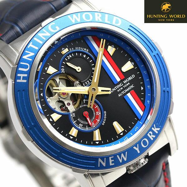 【当店なら!さらにポイント+4倍!21日1時59分まで】 ハンティングワールド アディショナルタイム 41mm 自動巻き HW993BL HUNTING WORLD 腕時計 時計