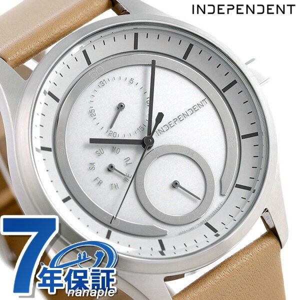 【当店なら!さらにポイント+4倍!21日1時59分まで】 インディペンデント ソーラー 革ベルト メンズ 腕時計 KB1-317-10 INDEPENDENT ホワイト×ベージュ 時計【あす楽対応】