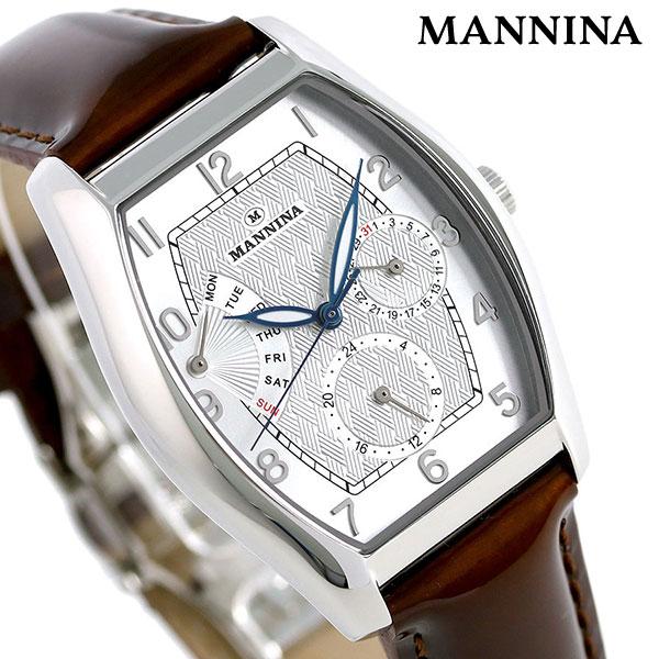 マンニーナ MANNINA メンズ 腕時計 トノー 33mm クオーツ 替えベルト付 MNN003-01 シルバー×ダークブラウン 時計