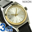 ニクソン A5091884 nixon ニクソン スモール タイム テラー レザー レディース 腕時計 シルバー/ゴールド/ブラック