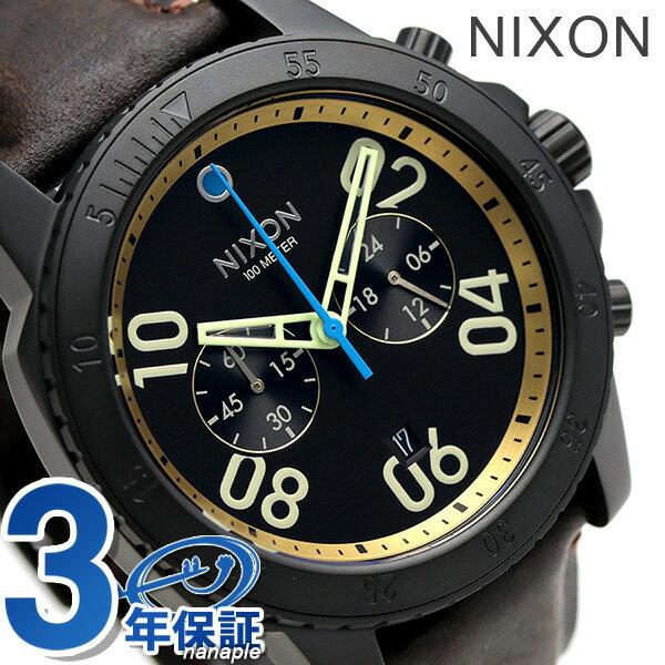 ニクソン 腕時計 メンズ クロノグラフ nixon A9402209 レンジャー レザー オールブラック/ブラス/ブラウン 時計【あす楽対応】