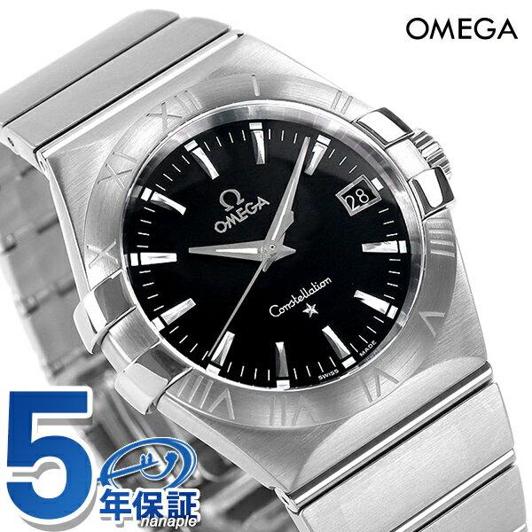 【10000円割引クーポン 20日9時59分まで】 オメガ OMEGA メンズ 腕時計 コンステレーション ローマ数字 ブラック シルバー 123.10.35.60.01.001 新品 時計