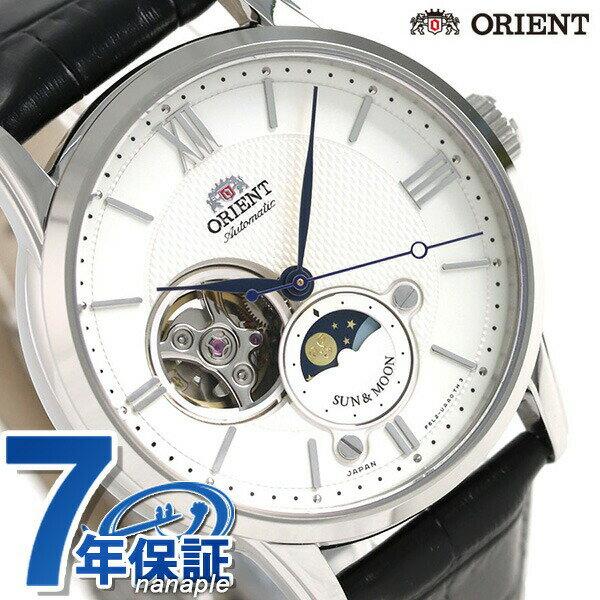 オリエント 腕時計 メンズ ORIENT サン&ムーン 42mm 機械式 日本製 RN-AS0003S 革ベルト【あす楽対応】