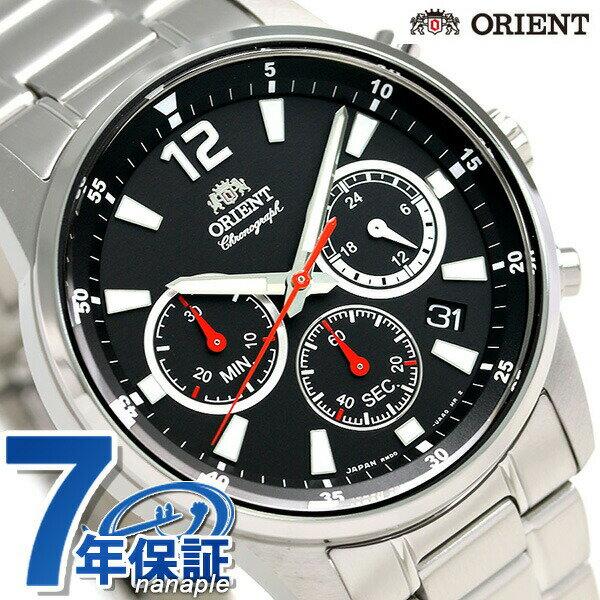 【当店なら!さらにポイント+4倍!21日1時59分まで】 オリエント 腕時計 ORIENT スポーティー クロノグラフ 42mm 日本製 RN-KV0001B ブラック 時計【あす楽対応】