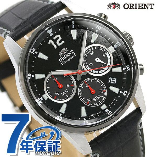 オリエント 腕時計 メンズ ORIENT 日本製 スポーツ クロノグラフ RN-KV0004B ブラック 革ベルト 時計