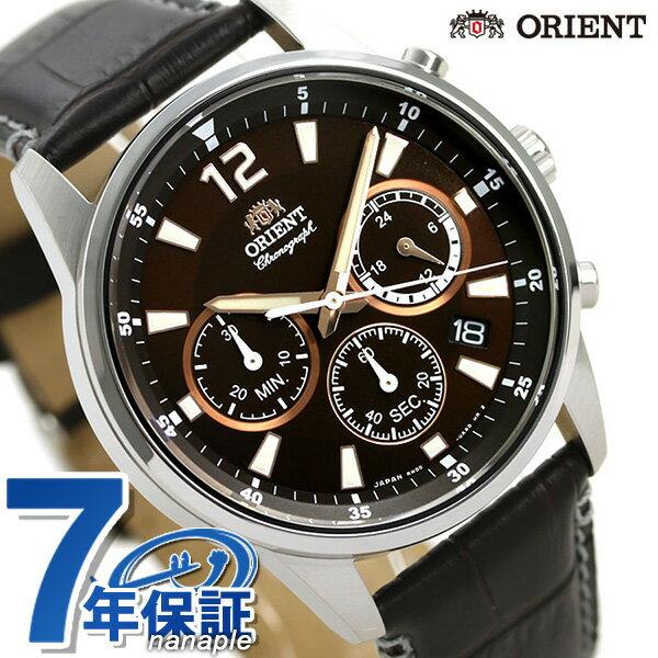 オリエント 腕時計 メンズ ORIENT 日本製 スポーツ クロノグラフ RN-KV0005Y ブラウン 革ベルト 時計【あす楽対応】