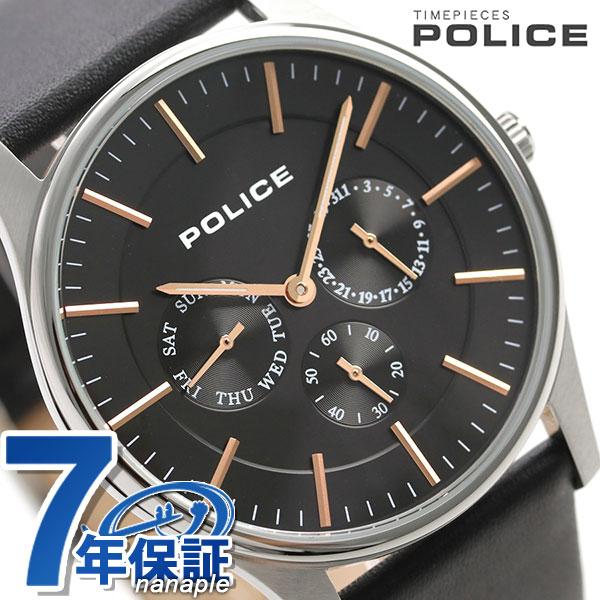 ポリス 時計 コーテシー 42mm クオーツ メンズ 腕時計 14701JS/02 POLICE ブラック