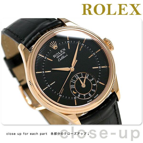 【当店なら!さらにポイント+4倍!25日10時〜】ロレックス チェリーニ デュアルタイム 39 自動巻き ROLEX 50525 腕時計 新品 ブラック 時計【あす楽対応】