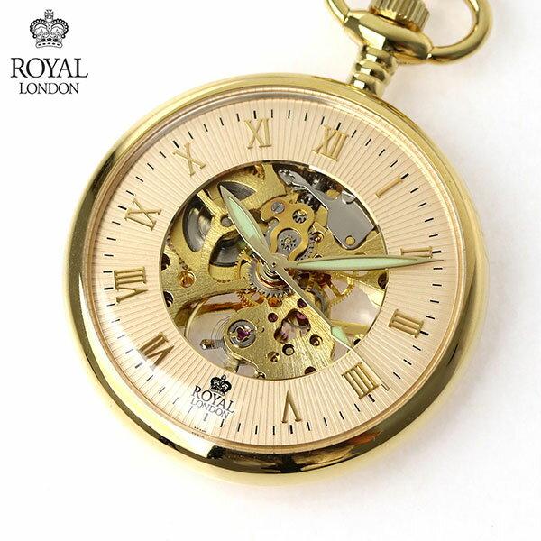 ロイヤルロンドン 懐中時計 オープンハート 手巻き 90002-03 ROYAL LONDON ポケットウォッチ 時計