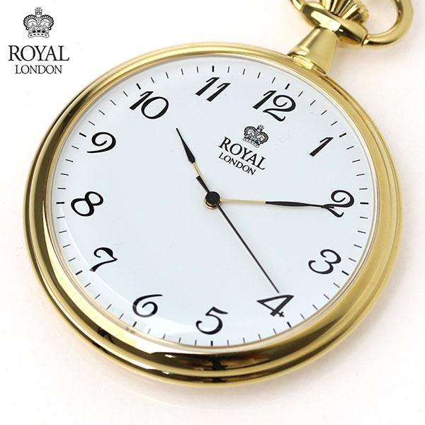 ロイヤルロンドン 懐中時計 ポケットウォッチ クオーツ 90014-02 ROYAL LONDON ホワイト×ゴールド 時計